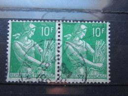 """VEND BEAUX TIMBRES DE FRANCE N° 1115A EN PAIRE , OBLITERATION """" FAVIERES """" !!! - 1957-59 Moissonneuse"""