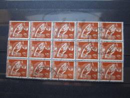 """VEND BEAUX TIMBRES DE FRANCE N° 1115 EN BLOC DE 15 , OBLITERATIONS """" ST-MALO """" !!! - 1957-59 Moissonneuse"""