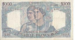 Billet 1000 F Minerve Et Hercule Du 11-7-1946 FAY 41.15 Alph. Q.293 - 1 000 F 1945-1950 ''Minerve Et Hercule''