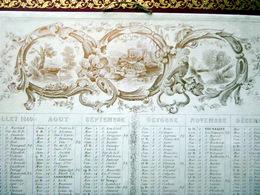 CALENDRIER ANCIEN 1840 TRES DECORATIF BORDS DORES LEGERS PLIS AU COIN BAS - Calendriers