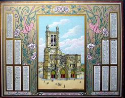 CALENDRIER 1905 DE LA POSTE PTT OBERTHUR CATHEDRALE DE TROYES  TRES BON ETAT - Calendriers