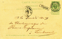 797/28 - Griffe D'origine WASMES Sur Entier Postal Armoiries MONS Station 1904 Vers FARCIENNES - Poststempel