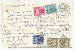 TAXE 20FRX2+1FR+5FR+2FR PARIS 1959 CARTE AUSTRIA NON AFFRANCHE - Postmark Collection (Covers)