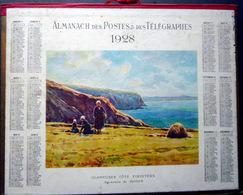 CALENDRIER 1928 DE LA POSTE PTT GLANEUSES  COTE FINISTERE TRES BEL ETAT - Calendars