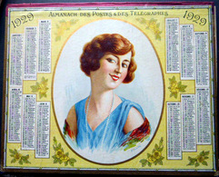 CALENDRIER 1929 DE LA POSTE PTT PORTRAIT JEUNE FILLE  TRES BEL ETAT - Calendars