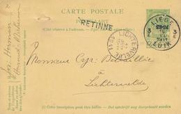 799/28 - Griffe D'origine RETINNE Sur Entier Postal Armoiries LIEGE 1911 Vers LICHTERVELDE - Poststempel