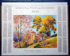 CALENDRIER 1930 DE LA POSTE   AMELIE LES BAINS AQUARELLE DE FOURQUIN   TRES BEL ETAT - Calendars