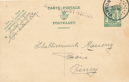 800/28 - Griffe D'origine MEIX Devant VIRTON Sur Entier Postal Petit Sceau VIRTON 1935 Vers CINEY - Marcophilie