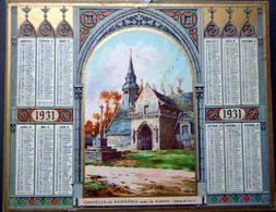 CALENDRIER 1931 DE LA POSTE  P T T  CHAPELLE  DE KERMARIA PLOUHA   TRES BEL ETAT - Calendars
