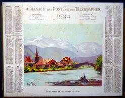 CALENDRIER 1934 DE LA POSTE  P T SAINT MARTIN DE SALLANCHES  TRES BEL ETAT - Calendars