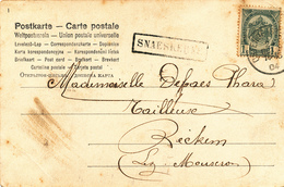 802/28 - Griffe D'origine SNAESKERKE Sur Carte Fantaisie TP Armoiries OSTENDE 1904 Vers RECKEM - Poststempel