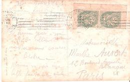 5c.Blanc Type 1bis Paire De Carnet Coin De Feuille Sur Carte Postale - Storia Postale