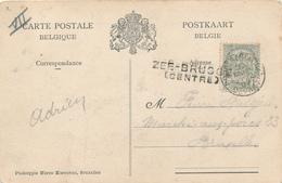 803/28 - Griffe D'origine ZEEBRUGGE (Centre) Sur TB Carte Bateaux TP Armoiries BRUGES Station 1907 - Poststempel