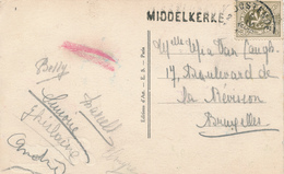 805/28 - Griffe D'origine MIDDELKERKE Sur Carte Fantaisie TP Lion Héraldique OOSTENDE - Poststempel