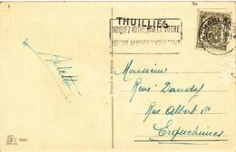 806/28 - Griffe D'origine THUILLIES Sur Carte Fantaisie TP Petit Sceau CHARLEROI 1948 Vers ERQUELINNES - Poststempel