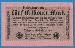DEUTSCHES REICH 5 Millionen Mark20.08.1923 Serie# 13AB.058669* P# 105 - [ 3] 1918-1933 : République De Weimar
