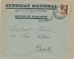 807/28 - Griffe D'origine WALCOURT Sur Enveloppe TP Col Ouvert CHARLEROI 1937 - Entete Syndicat National - Poststempel