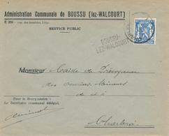 808/28 - Griffe D'origine BOUSSU Lez WALCOURT Sur Enveloppe TP Petit Sceau CHARLEROI 1942 - Entete Admin. Communale - Poststempel