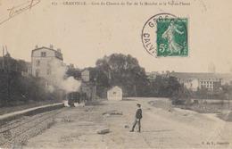 Cpa Granville 50 Manche   Gare Chemin De Fer  Val Es Fleurs  Train Vapeur En Action Moins Courante - Granville