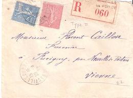 75c.type II + 1f.semeuse Lignée Sur Lettre Recommandée Oblitérée NEUVILLE DU POITOU - 1877-1920: Période Semi Moderne