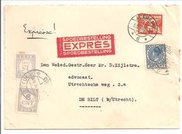 Alkmaar-De Bilt 6.9.33 Expresse + Port Voor Afstandsrecht 21ct - Periode 1891-1948 (Wilhelmina)