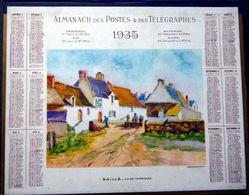 CALENDRIER 1935 DE LA POSTE  P T T  SAILLE TRES BEL ETAT - Calendars