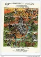 Angola-1990-Année De L'Alphabétisation-Préservation De La Nature-Eléphant,animaux,oiseaux-YT 781/83***MNH-en Feuillet - Angola