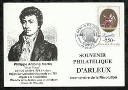 MERLIN DE DOUAI . SOUVENIR PHILATELIQUE D'ARLEUX .  13 .14 JUILLET 1989 . ARLEUX . - FDC