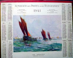 CALENDRIER 1941 DE LA POSTE  P T  T  LES REGATES ARRADON  TRES BEL ETAT - Calendars