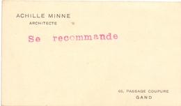 Visitekaartje - Carte Visite - Architecte - Architect Achille Minne - Gand Gent - Cartes De Visite