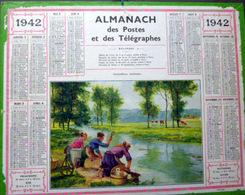 CALENDRIER 1942 DE LA POSTE  P T  T  LAVANDIERES MATINALES BEL ETAT - Calendriers