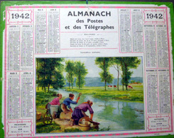 CALENDRIER 1942 DE LA POSTE  P T  T  LAVANDIERES MATINALES BEL ETAT - Calendars