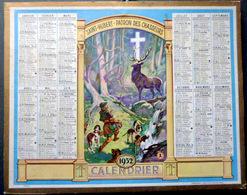 CALENDRIER 1952 DE LA POSTE  P T  T  SAINT HUBERT PATRON DES CHASSEURS  TRES BEL ETAT - Calendars