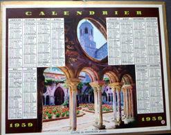 CALENDRIER 1959  DE LA POSTE  P T  T  CLOITRE DE FONTFROIDE TRES BEL ETAT - Calendriers