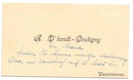 Visitekaartje - Carte Visite - A. D'Hondt - Coutigny - Westvleteren - Cartes De Visite