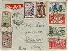 1937- Enveloppe PAR AVION De Tananarive Pour La France Affr. à 4,60 Dont Série Complète Expo De Paris - Madagascar (1889-1960)