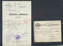 LOT DE DOCUMENTS MAIRIE DE ESBLY BILLET DE LOGEMENT DE VILQUIN GEORGES RUE DES LOGES 4 AUTOGRAPHE  DU MAIRE 1938 : - France