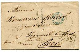 MOSCOU Pour PARIS LSC Taxe De 11+ Marque échange P.38+ Entrée Bleue 3 PRUSSE 3 ERQUELINES Du 16/07/1866 - Poststempel (Briefe)