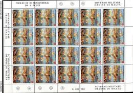 Z1417 SOVRANO MILITARE ORDINE DI MALTA SMOM 2000 Donazioni Di Artisti Contemporanei, 9 S., Foglio Completo, MNH**, Ottim - Sovrano Militare Ordine Di Malta