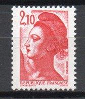 - FRANCE Variété 2328a ** - 2 F. 10 Type Liberté 1984 - PHOSPHORE A CHEVAL - Cote 25 EUR - - Variétés Et Curiosités