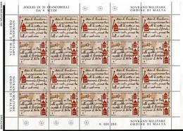 Z1418 SOVRANO MILITARE ORDINE DI MALTA SMOM 2001 Storia Della Marina Dell'Ordine, Foglio Completo, MNH**, Ottime Condizi - Sovrano Militare Ordine Di Malta