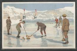 Pellegrini - N° D10 - Carte Peu Courante - Curling - Joueurs - Balais - Drapeau Suisse - Vouga & Cie Geneve - Illustrators & Photographers