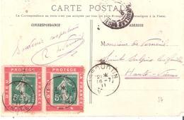 5c.semeuse Camée Vert X2 Sur Porte Timbre DIEU PROTEGE LA FRANCE Sur Carte Oblitéré ISSOUDUN - Marcophilie (Lettres)