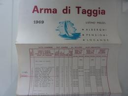 """Pieghevole """"ARMA DI TAGGIA 1969 LISTINO PREZZI ALBERGHI PENSIONI LOCANDE"""" - Dépliants Turistici"""