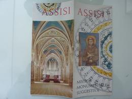 """Pieghevole Illustrato """"ASSISI MISTICA MONUMENTALE SUGGESTIVA"""" Anni '60 - Dépliants Turistici"""