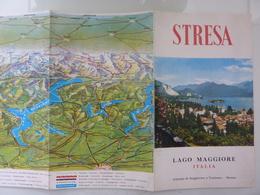 """Pieghevole Illustrato """"STRESA LAGO MAGGIORE ITALIA"""" Anni '60 - Dépliants Turistici"""