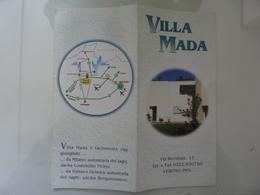 """Pieghevole Illustrato """"VILLA MADA VERUNO ( NO )"""" - Dépliants Turistici"""