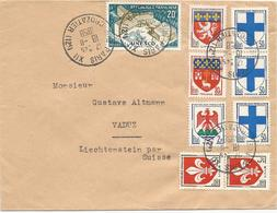 LETTRE POUR LE LIECHTENSTEIN PAR LA SUISSE 1958 AVEC 9 TIMBRES TYPES BLASONS / UNESCO - Storia Postale