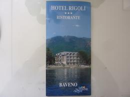 """Pieghevole Illustrato """"Hotel Ristorante RIGOLI  BAVENO Lago Maggiore"""" - Dépliants Turistici"""