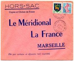 DROME - Dépt N° 26 = SUZE La ROUSSE 1964 = Cachet  MANUEL A8 + HORS-SAC  LE MERIDIONAL - Marcophilie (Lettres)